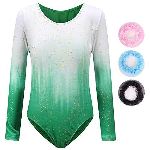 Sinoeem Gymnastikanzug Für Mädchen Ballett Kinder Langarm/Ärmellos Kurzarm Gradient Color Round Neck Turnanzug Für 3-12 Jähriges Mädchen (Grün - Langarm, Tag 6A(5-6 Years))