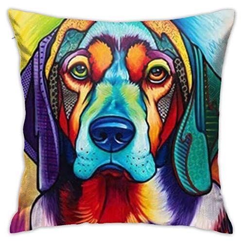 Xiangyang Cojines,Cushion Sofa Perro Pintura al óleo para Mascotas 4 (2) Funda de Almohada Cuadrada, Funda de Almohada Decorativa Moderna, Adecuada para Decorar sofá, 45X45cm