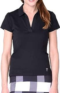 GOLFTINI New! Short Sleeve Cotton Mesh Collar Polo - Black