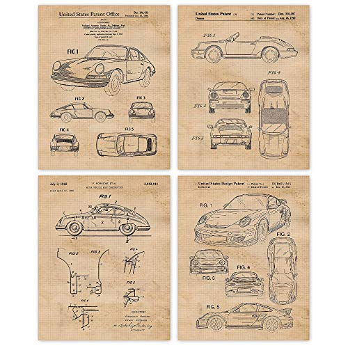 Vintage Porsche 911 Patent Poster Prints, Set of 4 (8x10) Unframed Photos, Great Wall Art Decor Gifts Under 20 for Home, Office, Garage, Man Cave, College Student, Teacher, Germany Cars & Coffee Fan