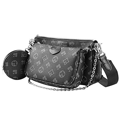 FAHIMEH Umhängetasche Damen kleine,Crossbody Bag Damen, Damen Schultertasche Handtasche Kleine Damen Fashion Gifts für Frauen 3 in 1 PU Leder Tragetaschen(Schwarz)