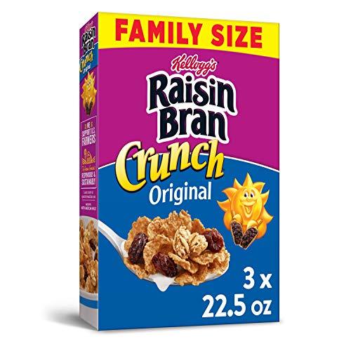 Kellogg#039s Raisin Bran Crunch Breakfast Cereal Original 225 Oz Pack of 3