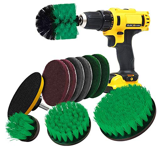 Drill Brush Attachment Drill Brushes for Cleaning Drill Scrubber Attachment for Bathroom Surfaces Tub, Shower, Tile and Grout 11 Pieces (Green)