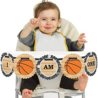 Big Dot of Happiness Nothin' but Net - Basketball 1rst Birthday Highchair Decor - I Am One - First Birthday High Chair Banner