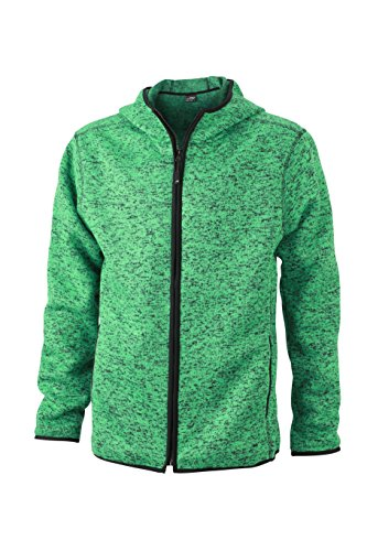 James & Nicholson Herren Sweatshirt Fleece Men's Knitted Hoody grün (Green-Melange/Black) Large