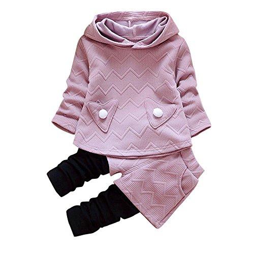 LEXUPE Baby Jogginganzug Mädchen 3PCS Outfits SetBrief Gedruckt Spielanzug Overall + Hirsch Sport Hosen + Soft Cap Weihnachten Outfits Set Prinzessin Rot Freizeit Kleider(Lila,90/M)