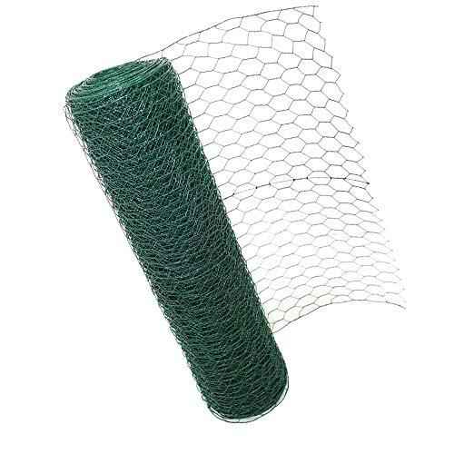 Efan Valla de alambre hexagonal verde de 60 cm x 50 m, con revestimiento de PVC, tamaño del agujero: 0,9 mm de diámetro del alambre, para jardín, aves de corral, alambre de pollo.