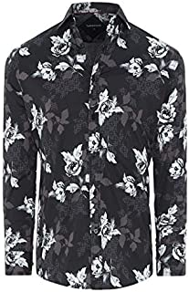 Tarocash Men's Floral Geo Print Shirt Stretch Cotton Regular Fit Long Sleeve Sizes XS-5XL for Going Out Smart Occasionwear