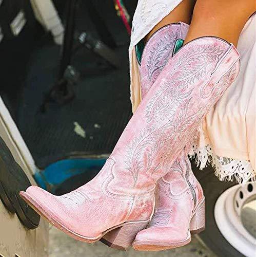 Frauen Mid-Calf Stiefel Frau Western Cowboystiefel Stickschuhe Damen Pointed Toe Frauen Middle Heels Pump,Rosa,43