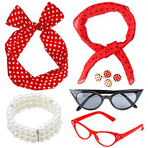Beelittle Set di Accessori per Costume da Donna Anni '50 Sciarpa in Chiffon a Pois Bandana Tie Orecchini a Fascia Retro Cat Eye Eglasses Bracciale di Perle (Rosso)