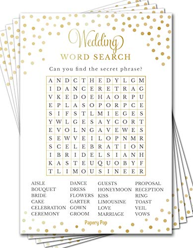 Wedding Word Search Game Cards (50 Pack) - Bridal Shower Games - Bachelorette Party Games Ideas Activities Supplies
