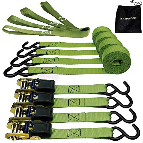 Seamander Ratchet Tie Down Straps 500 Load Capacity & 1,500 Lbs Breaking Strength (4 Pack & 2 Bungee Cords)