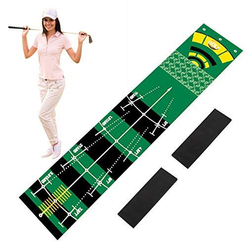 TTLIFE Colchoneta de Golf de 0,5 x 3 m, Alfombrilla de Golf Profesional para Green, Alfombra de Entrenamiento de Hierba de simulación de Golf con 2 Pisos de Pendiente extraíbles