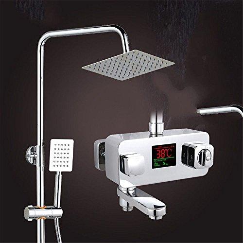 Lvsede Badkamer waterkraan design keukenkraan lage druk douchethermostaat roestvrij staal top spray thermostaat mixer opgeladen handdouche