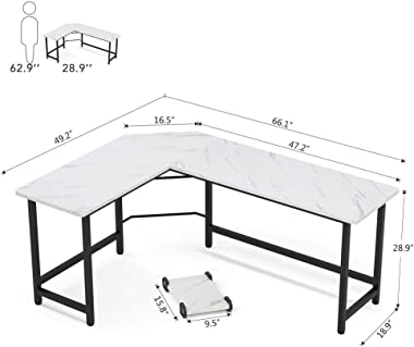 Tribesigns Modern L-Shaped Desk, Corner Computer Desk PC Laptop Gaming Table Workstation for Home Office, White Faux Marble/B