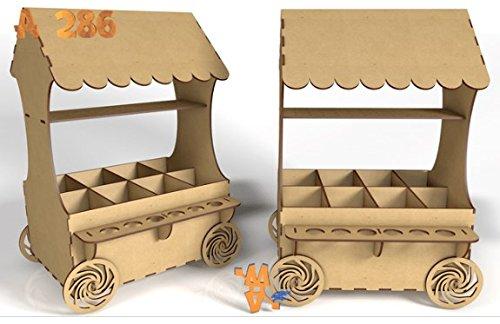 Kit para hacer carrito de chuches de madera DM para candy bar mesa dulce. Medidas:45cm de alto x 30 cm de ancho x 25 cm de fondo