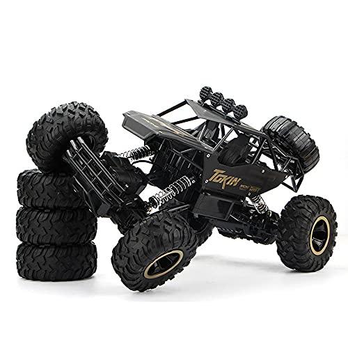 HSCW 1:12 Coche de escalada de aleación, Vehículo todoterreno Bigfoot Control de tracción en las cuatro ruedas Control remoto Vehículo todoterreno, Coche de control remoto de juguete negro para niños,