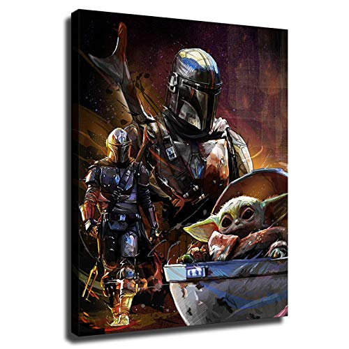 Mandalorian The Baby Yoda Poster HD Printed Star Wars movie Prints on Canvas for Wall Decor (20x24inch,No Frame)
