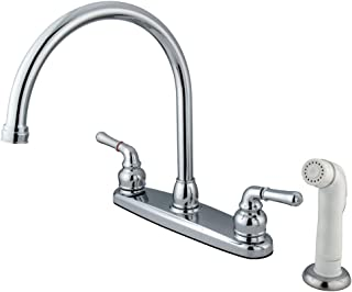 Kingston Brass KB791 Magellan Twin Lever Handle C Type Kitchen Faucet with Sprayer, 8-3/4-Inch, Polished Chrome