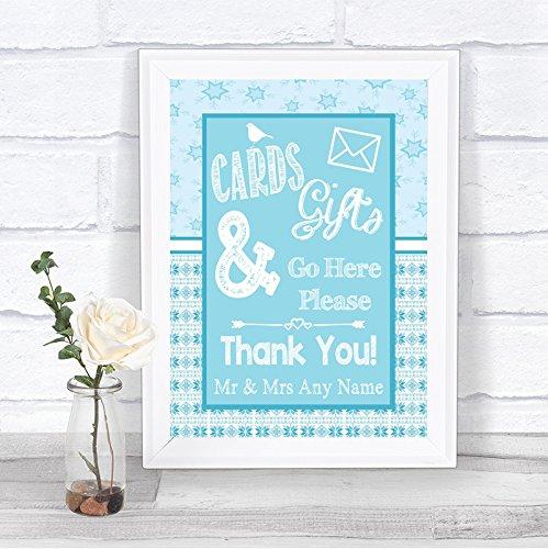 Winter blauwe kerstkaarten en geschenken post doos gepersonaliseerde bruiloft teken afdrukken Framed White Small Blauw