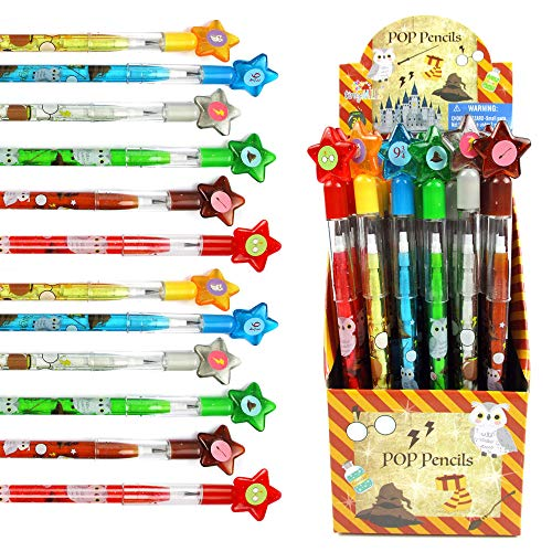 TINYMILLS 24 Pcs Wizard Multi Point Stackable Push Pencil Assortment with Eraser for Wizard Birthday Party Favor Prize Carnival Goodie Bag Stuffers Classroom Rewards Pinata Fillers