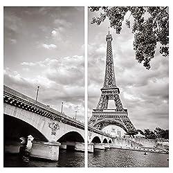 Paris Canvas Wall Art Decor - 2 Piece Set, Decorative Multi Panel Split Prints - Black & White Eiffel Tower Picture for Living Room, Kitchen, Bedroom, Office & Home Decor Gift