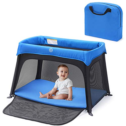 HEAO 2 in 1 Portable Travel Crib& Pack n Play, Portable Baby Playard with Side Zipper Washable Mattress for Infants & Toddlers Blue