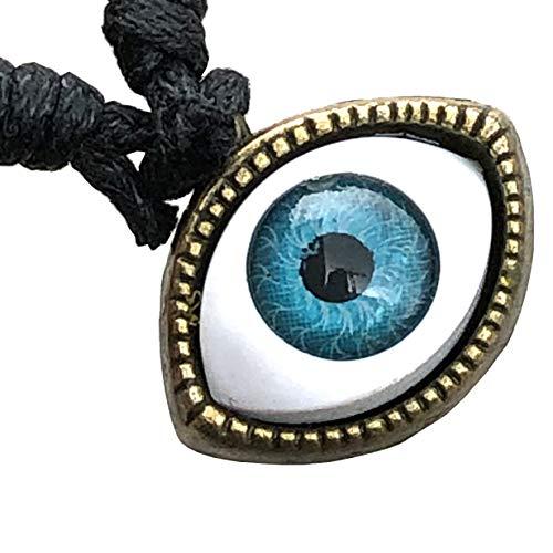 Colgante de latón con amuleto de protección contra talismán, sin cadena, para hombres, mujeres, niños, niñas, con cordón ajustable, de All Seeing Mal Eye Malochio Malocchio Tomodachi Illuminati