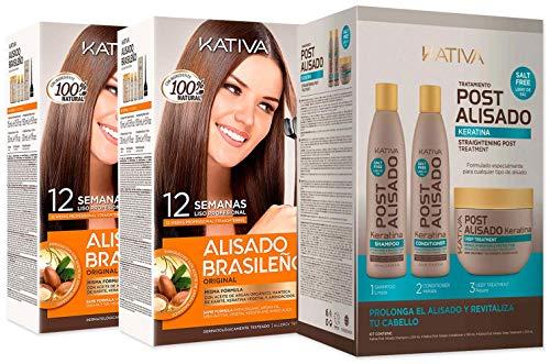 Kativa Kit lisciatura Brazilian x2 + Post lisciatura (Shampoo, Condizionatore e Maschera)