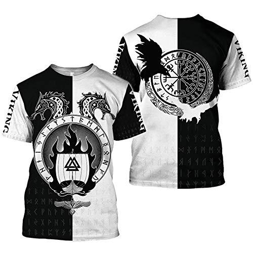 Camiseta con Estampado de símbolo Vikingo de 2021, Camiseta Harajuku de Manga Corta de Verano para Hombre, Camiseta Unisex de Hip-Hop Callejero para Hombre-C9_2XL