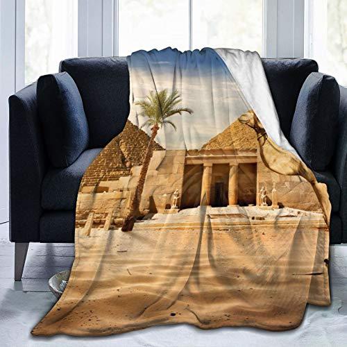 Colorful products Manta de forro polar de 127 x 152 cm – Egipto El Cairo desierto, camello, arena, pirámides, palma, forro polar, suave, cálida, manta de felpa para cama/sofá/oficina/camping