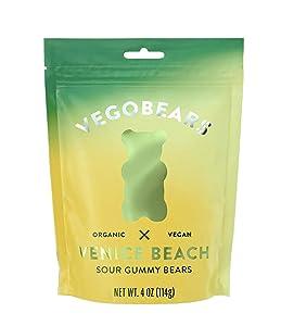 VEGOBEARS Venice Beach Sour Gummy Bears 4 Ounces! 3 Flavors Lemon, Pineapple and Apple! Chewy Fruity Gummy Bears! Organic and Vegan Gummy Bear Candy! Choose Your Flavors! (Venice Beach)
