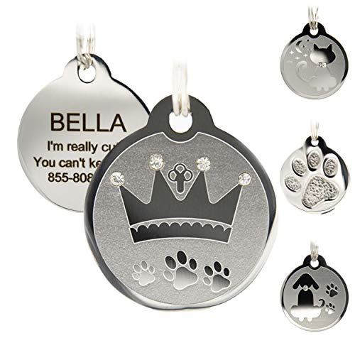 Designer Custom Engraved Stainless Steel Pet ID Tags - Engraved Personalized Identification Durable & Long Lasting Dog Tags, Cat Tags