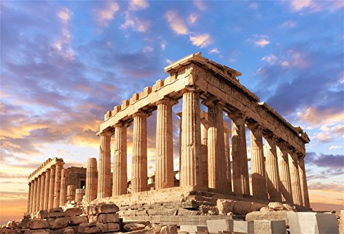 LFEEY 5x3ft Sunset Greece Parthenon Photo Backdrop Historical Building Famous Palace Ancient Athens Acropolis Temple Column Photography Background Photo Studio Props