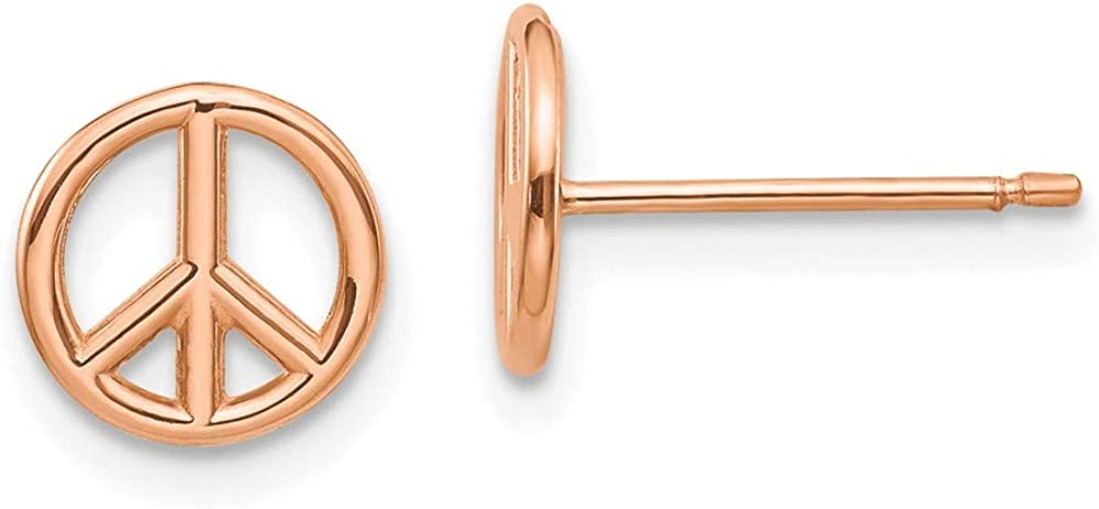 14k Rose Gold Peace Symbol Post Stud Earrings Ball Button Inspiration Fine Jewelry For Women Gifts For Her