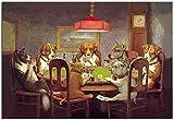 Karen Max Pintura Al óleo Arte De La Pared Impresiones De Lienzo Perros Jugando Al Póquer No Enmarcados Imágenes De Animales para (Sin Marco,60x90 cm) (Sin Marco,60x90 cm)