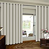 Turquoize Blackout Curtains Extra Wide Sliding Door Curtains for Living Room 84 Inches Thermal Insulated Patio Door Curtain Panel Grommet Window Treatment Curtain, 1 Panel(100Wx84L Inches, Cream)