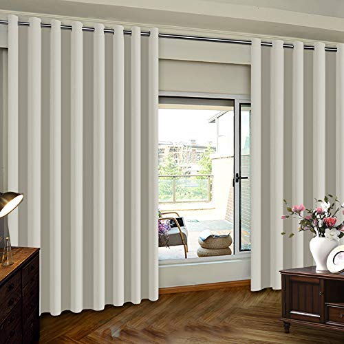 Extra Wide Patio Door Curtains Thermal Insulated Blackout Patio Curtains, Sliding Door Insulated Drape, Soundproof Room Divider Curtains - Grommet Top - Cream- 100