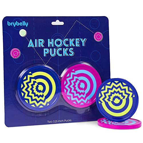 Learn More About Deluxe Vivid Color Large Size Air Hockey Replacement Pucks - Set of Two 3.25 Inch P...