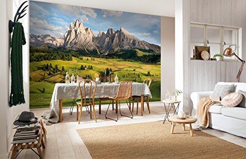 Komar - fotobehang ALPEN - 368 x 254 cm - behang, wand, decoratie, wandbehang, wanddecoratie, muurdecoratie, landschap, Alpenblick, Almweien, natuur, uitzicht - 8-982