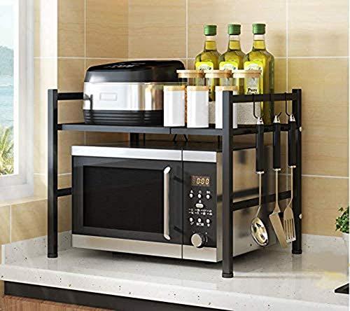 SESOUK Mikrowelle Regale- Erweiterbares Mikrowellen Regal- 2-stufiges Platzsparregal und Organizer für Küchenarbeitsplatten mit 3 Haken- Schwarzer(Color:schwarz)