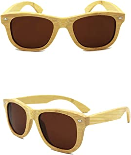 LUKEEXIN UV400 Polarized Fashion Glasses, Outdoor Bamboo Sunglasses, Unisex (Color : Brown)