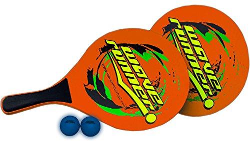 Wave Runner Sport Strand Paddel aus Holz Spiel Set inkl. 2Low Widerstandsfähigkeit Kugeln, 2Holz Paddel, 1Tasche toll für Strand Pool Park Innen Geschenke, Orange