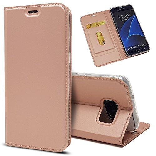 Copmob Funda Samsung Galaxy S7 Edge,Ultradelgado Flip Libro Funda de Cuero PU,[Cierre Magnético][1 Ranura][Función de Soporte],Carcasa Case para Samsung Galaxy S7 Edge - Rosa