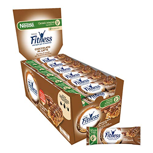 FITNESS CIOCCOLATO AL LATTE Barretta di Cereali con Frumento Integrale e Cioccolato al Latte 24 Pezzi