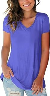 SAMPEEL Women's Basic V Neck Short Sleeve T Shirts Summer...