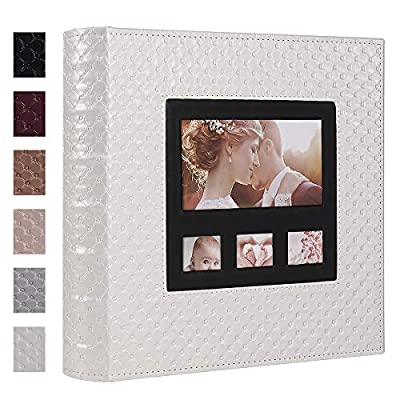 RECUTMS Albums for Photos 4x6 600 Photos Button Grain Leather Extra Large Capacity Wedding Picture Albums Hold Horizontal and Vertical Photos Record Family Baby Photo Album (White)