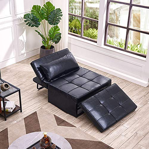 Vonanda Leather Ottoman Sofa Bed,Small Modern Couch Multi-Position Convertible with Selected Leather...