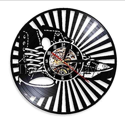 CQAZX Zapatillas Silueta Sombra 3D Reloj de Pared Diseño Moderno Reloj de Pared de Vinilo Reloj Personalidad Decoración de Pared Zapatería