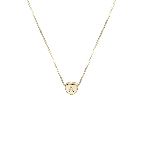 0d402aca10 Tiny Gold Initial Heart Necklace-14K Gold Filled Handmade Dainty  Personalized Letter Heart Choker Necklace